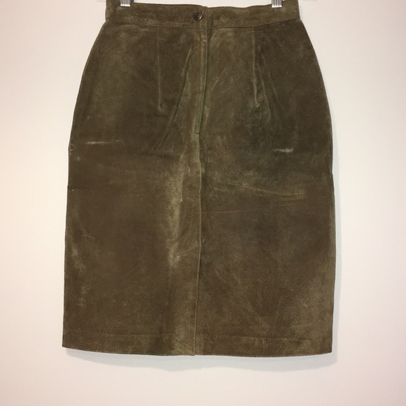 Compagnie Internationale EXPRESS Dresses & Skirts - Genuine Leather Army Green Skirt S